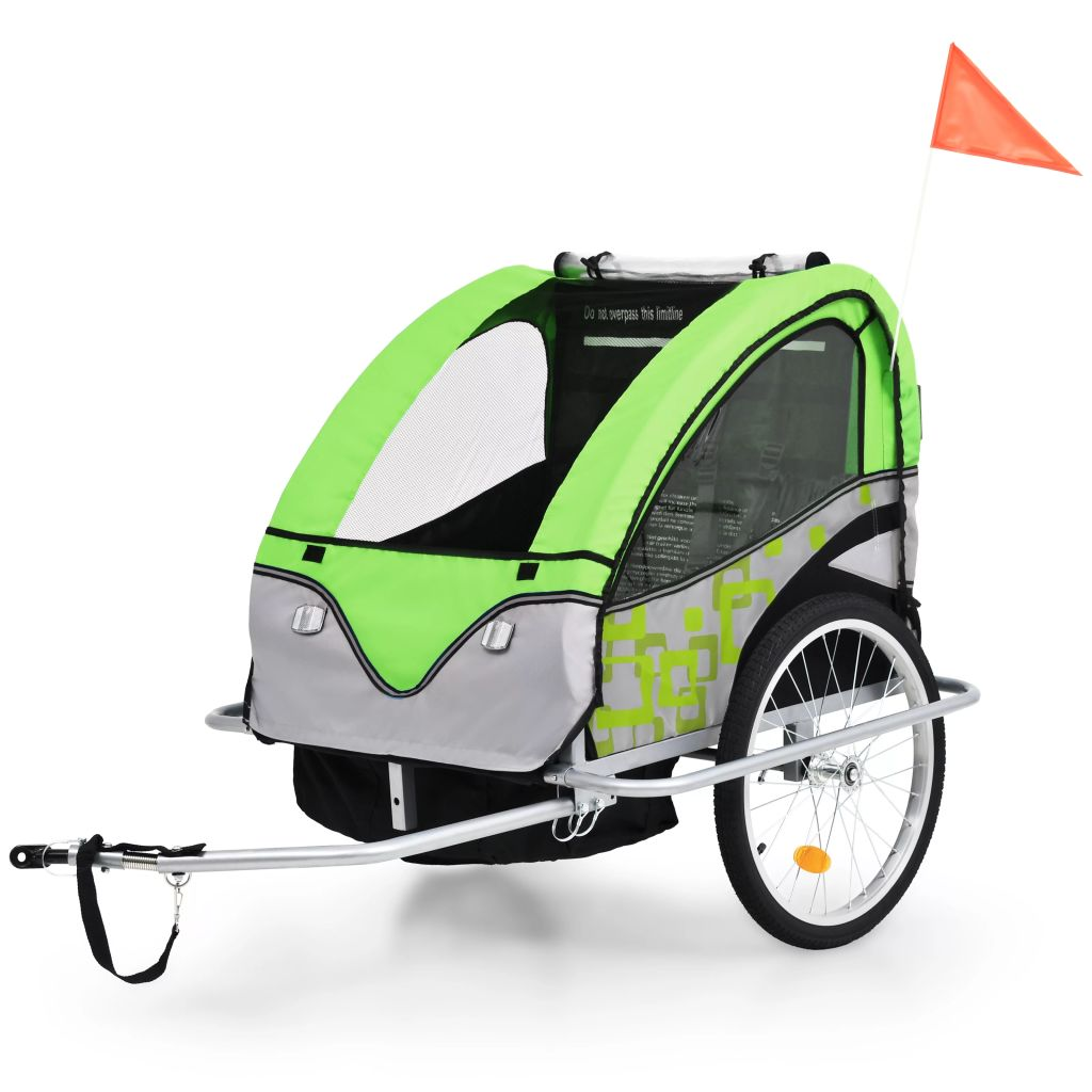 2-in-1 Kids' Bicycle Trailer & Stroller Green and Grey