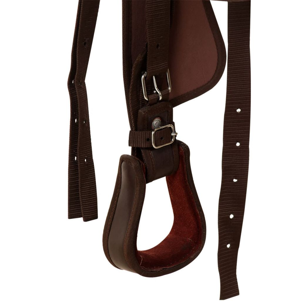 "Western Saddle, Headstall&Breast Collar Real Leather 15"" Brown"