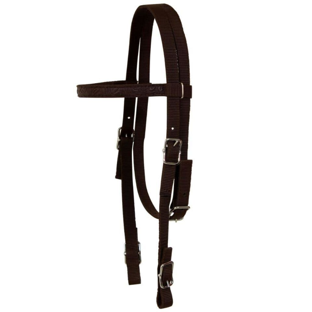 "Western Saddle, Headstall&Breast Collar Real Leather 16"" Brown"