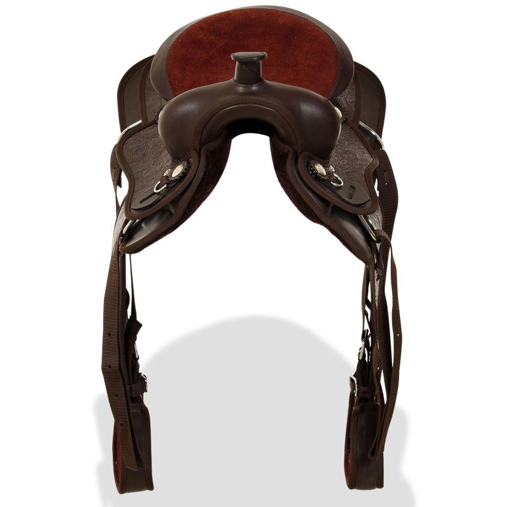 "Western Saddle, Headstall&Breast Collar Real Leather 12"" Brown"