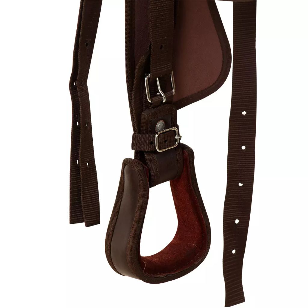 "Western Saddle, Headstall&Breast Collar Real Leather 13"" Brown"