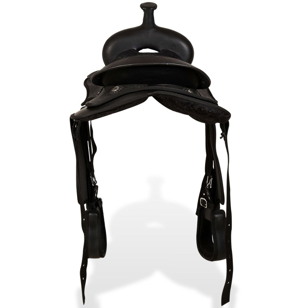 "Western Saddle, Headstall&Breast Collar Real Leather 12"" Black"