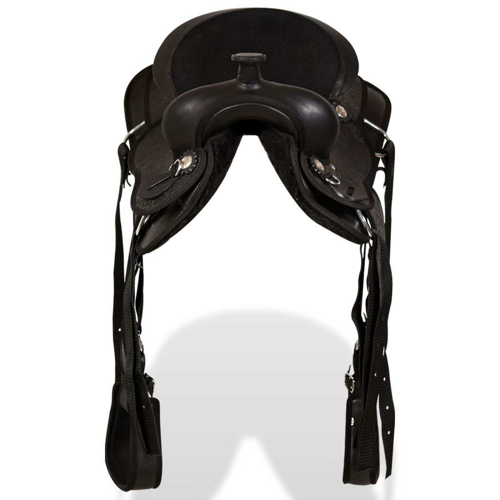 """Western Saddle, Headstall&Breast Collar Real Leather 13"""" Black"""