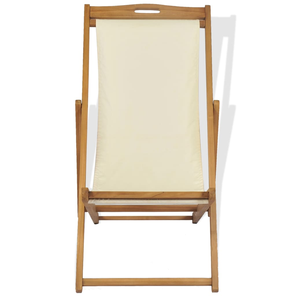 Deck Chair Teak 56x105x96 cm Cream