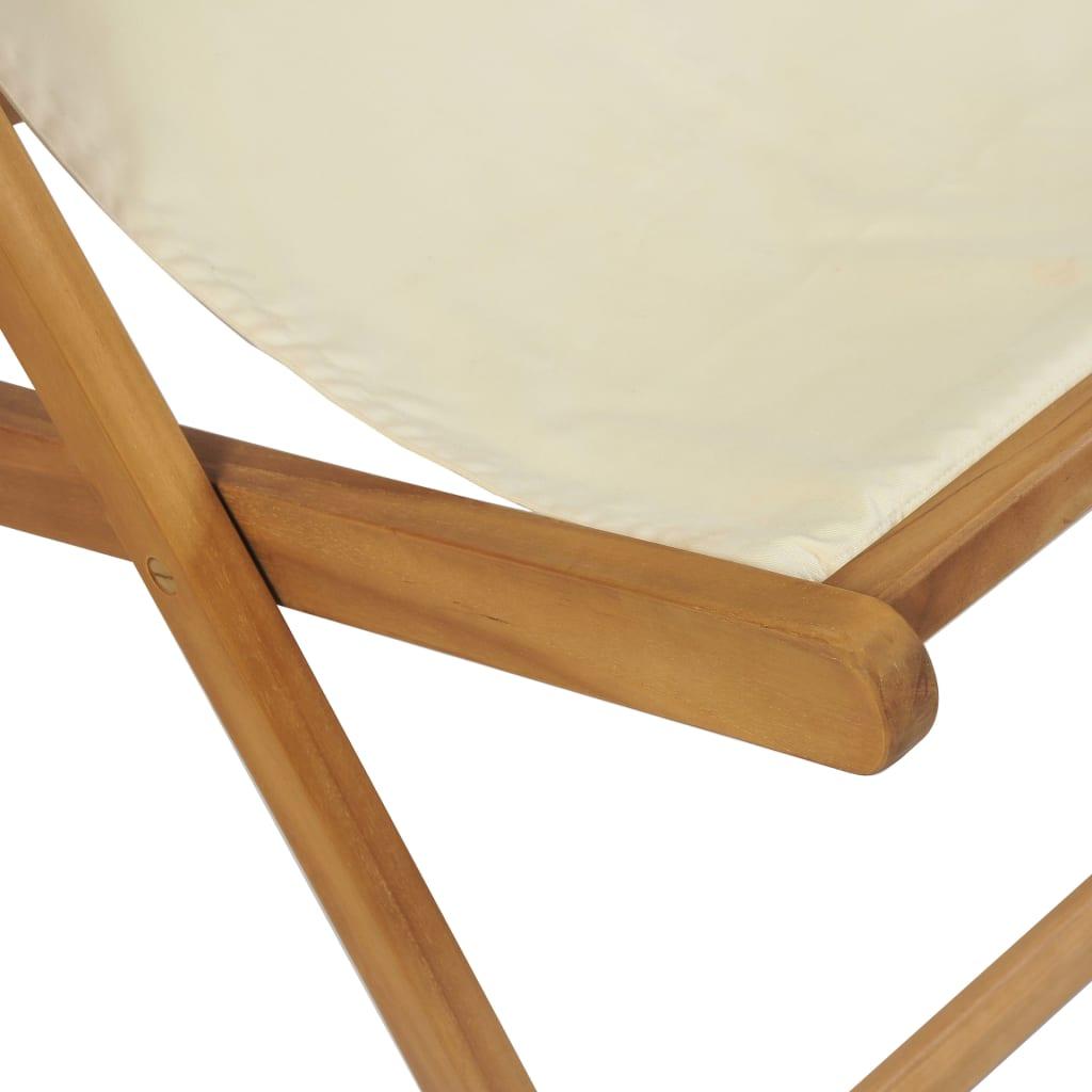 Deck Chair Teak 56x105x96 cm Cream