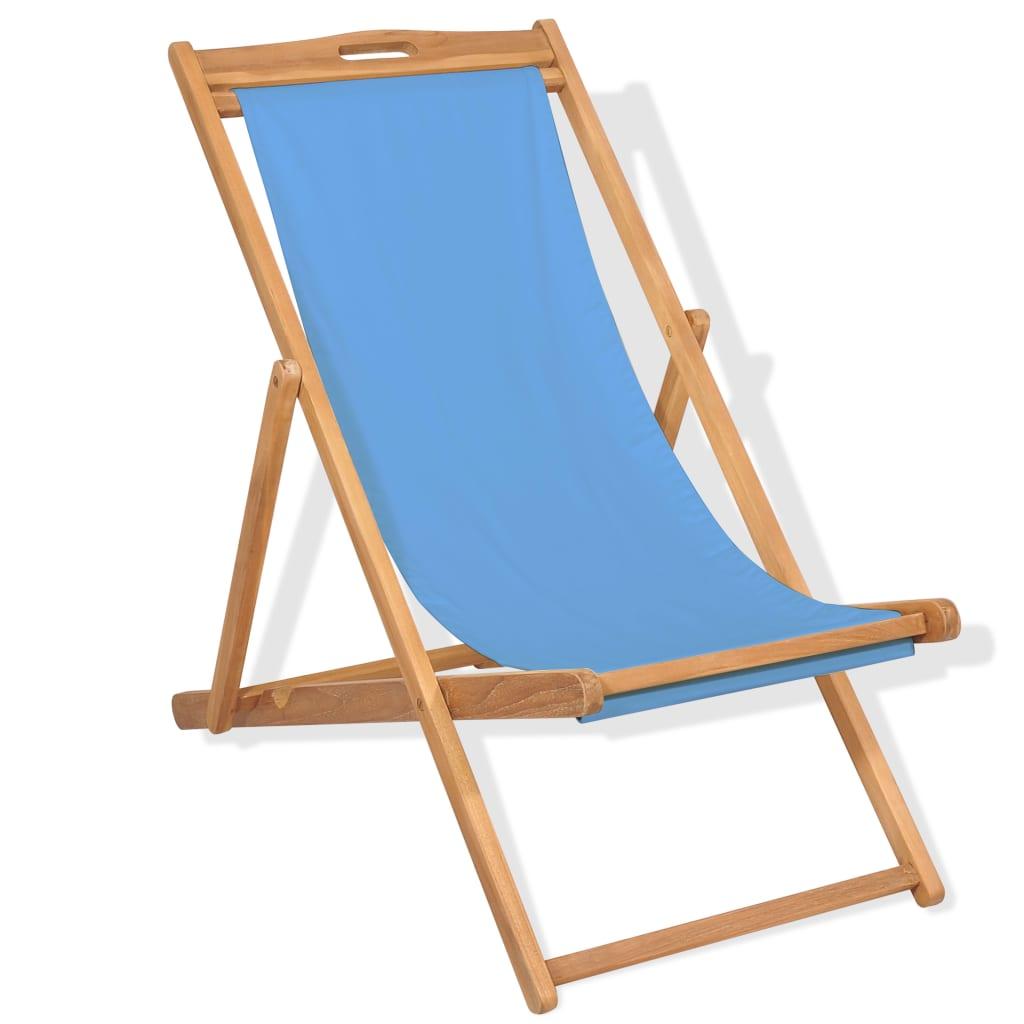 Deck Chair Teak 56x105x96 cm Blue