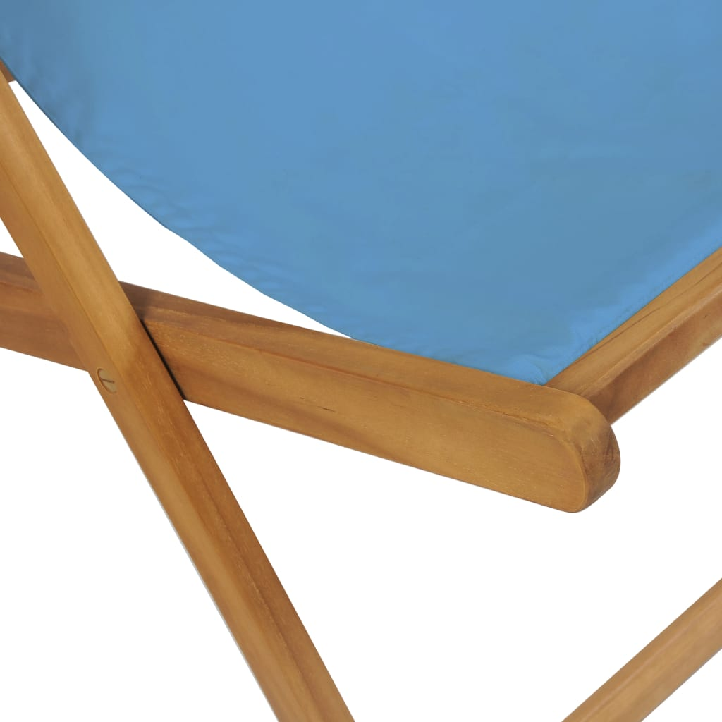 Deck Chair Teak 56x105x96 cm Blue