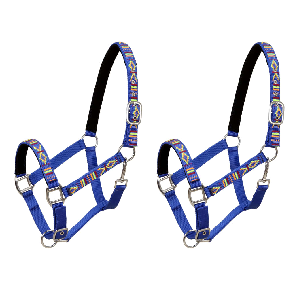 Head Collars 2 pcs for Horse Nylon Size Full Blue