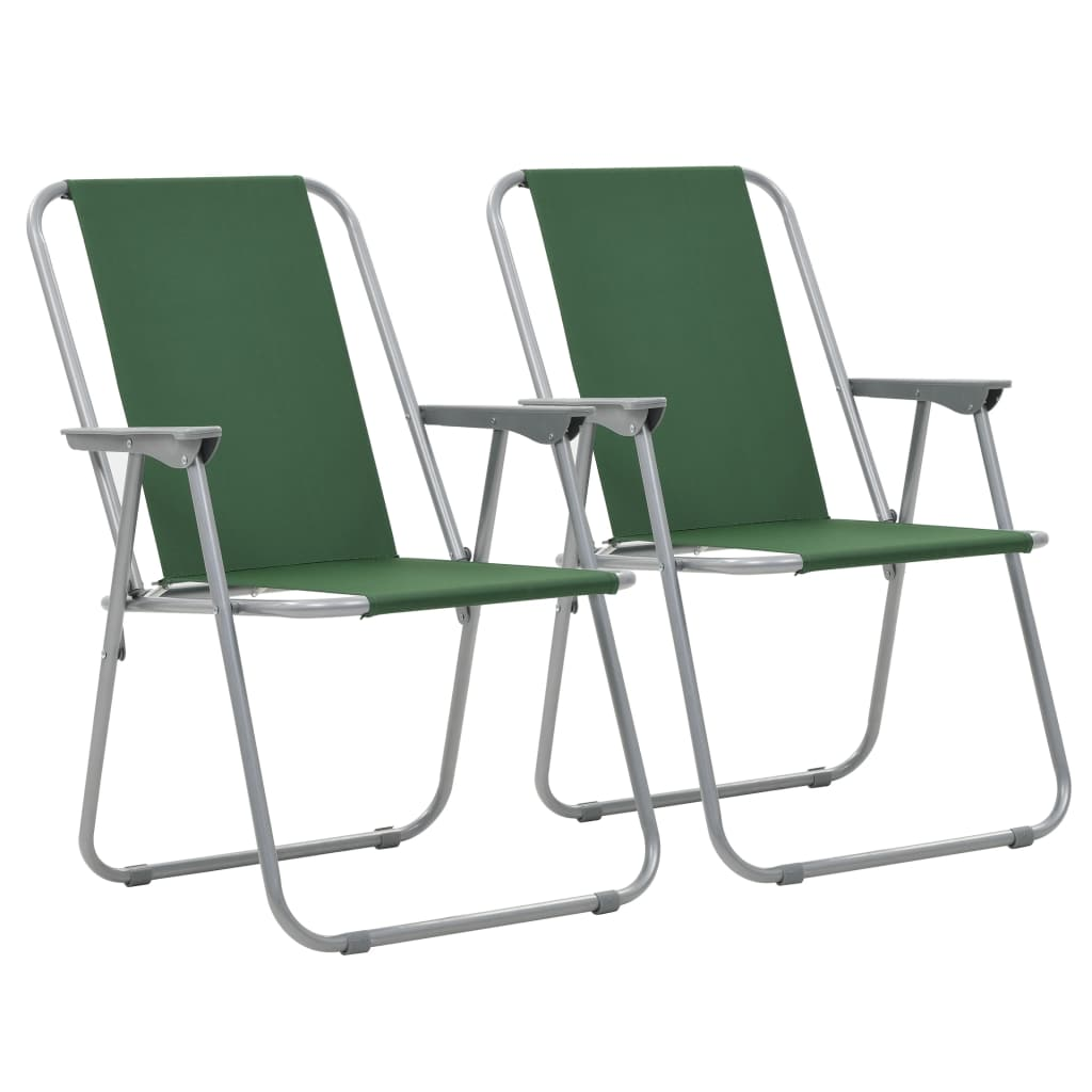 Folding Camping Chairs 2 pcs 52x59x80 cm Green
