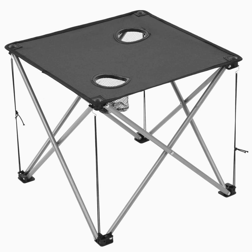 Camping Table and Chair Set 3 Pieces Grey