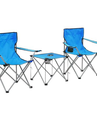 Camping Table and Chair Set 3 Pieces Blue
