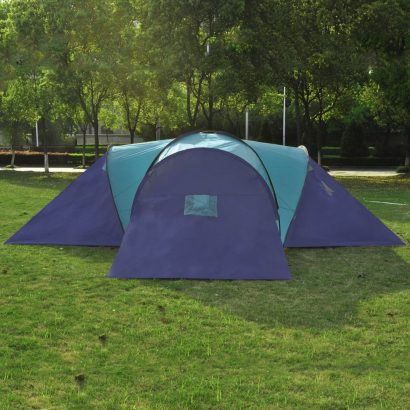 Camping Tent Fabric 9 Persons Dark Blue and Blue