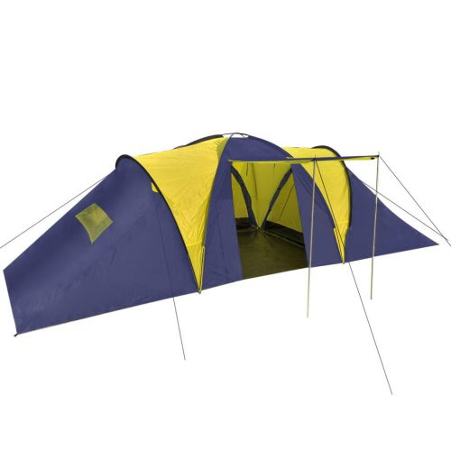 Camping Tent Fabric 9 Persons Blue and Yellow