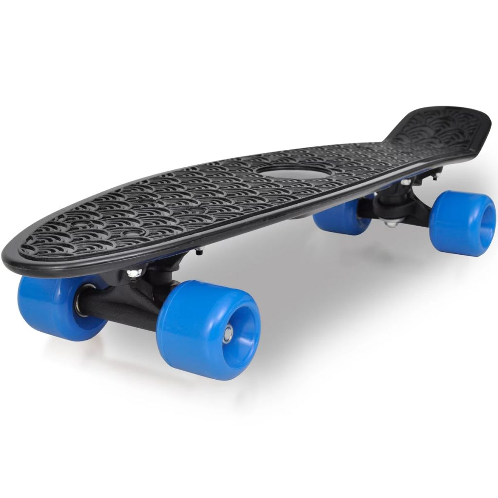 "Retro Skateboard with Black Top Blue Wheels 6,1"""