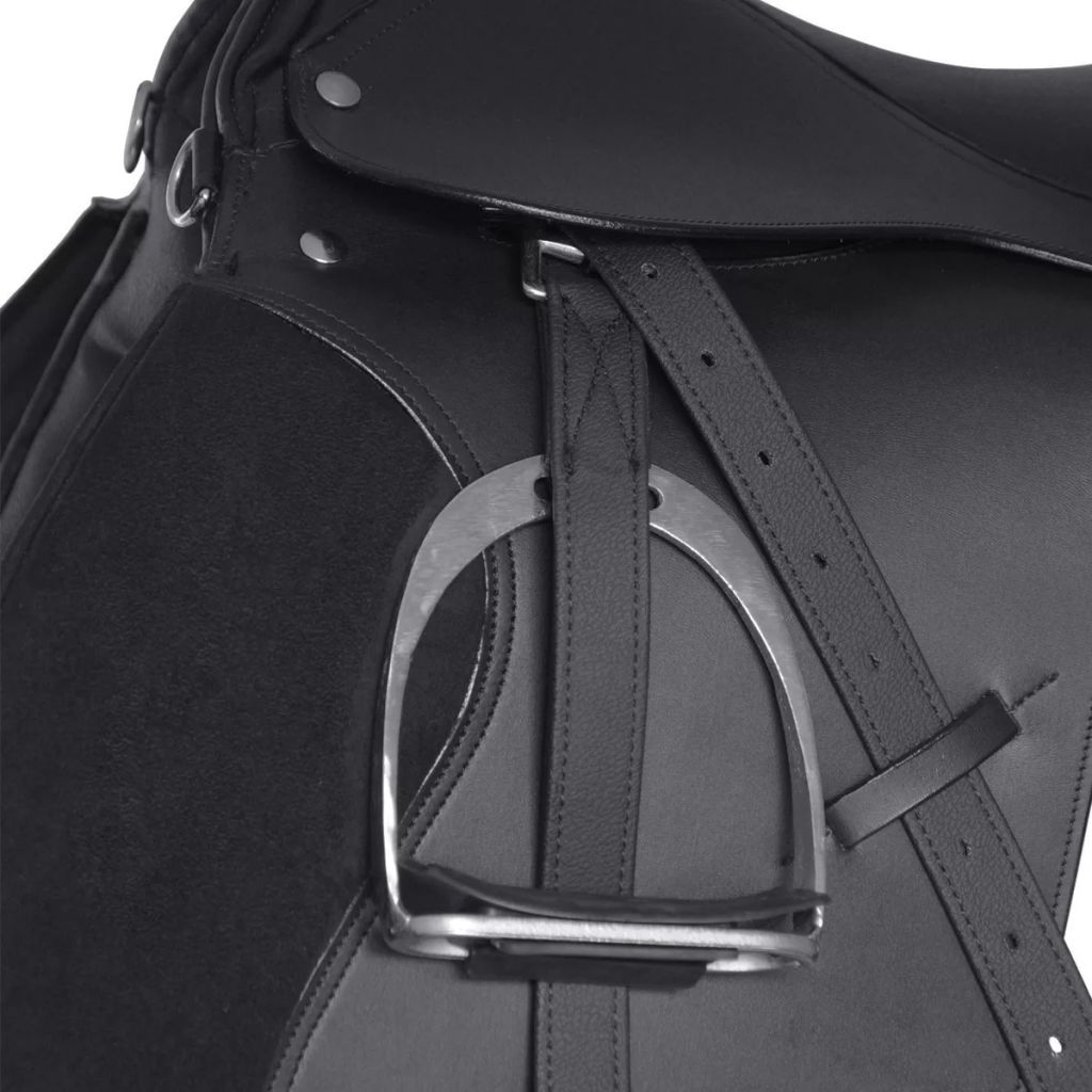 "Horse Riding Saddle Set 16"" Real Leather Black 14 cm 5-in-1"