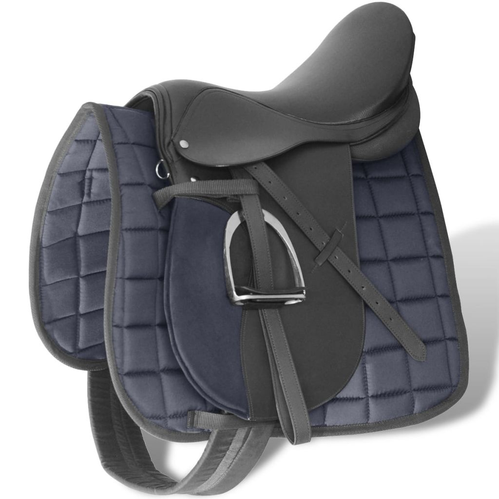 "Horse Riding Saddle Set 17.5"" Real leather Black 12 cm 5-in-1"