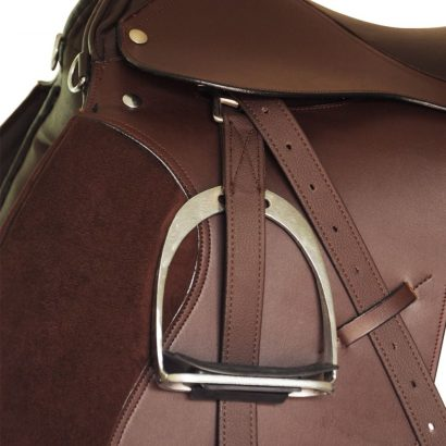 "Horse Riding Saddle Set 17,5"" Real Leather Brown 12 cm 5-in-1"