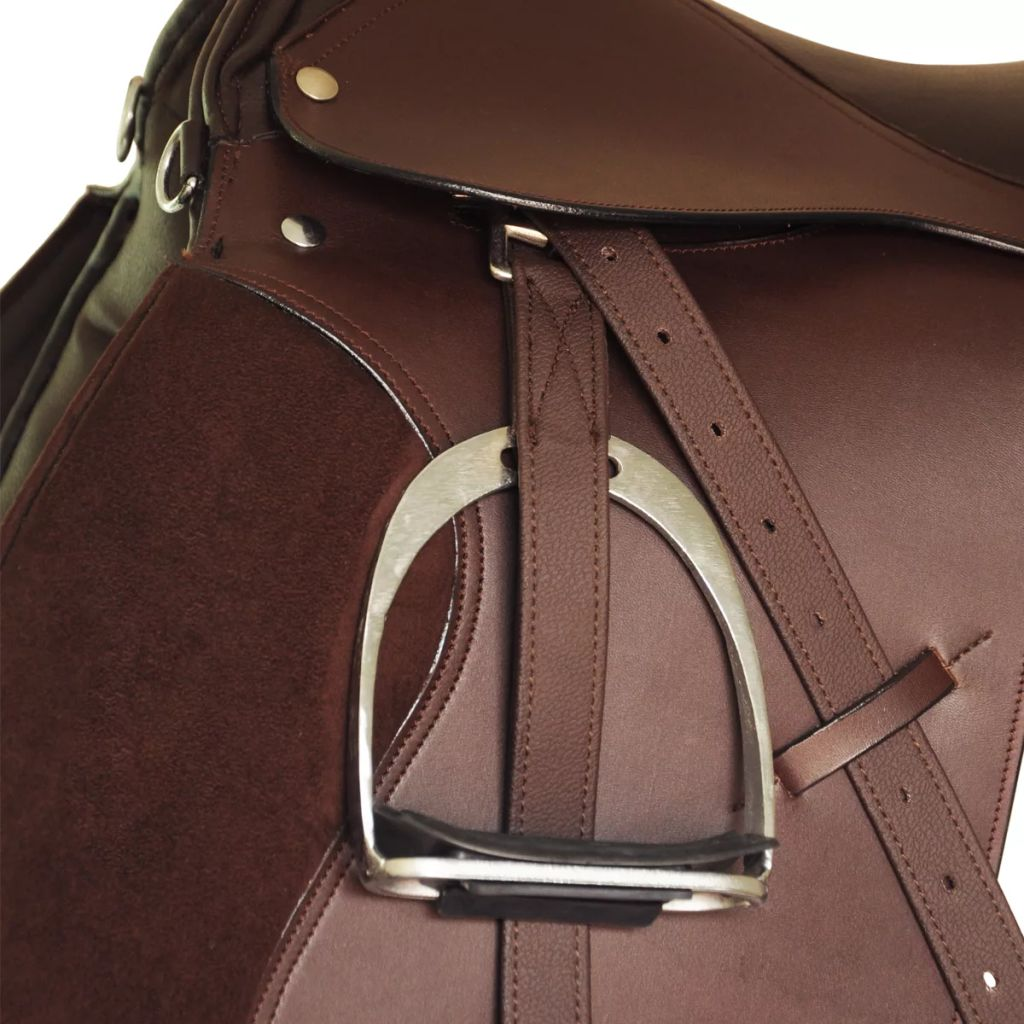 "Horse Riding Saddle Set 17.5"" Real Leather Brown 18 cm 5-in-1"
