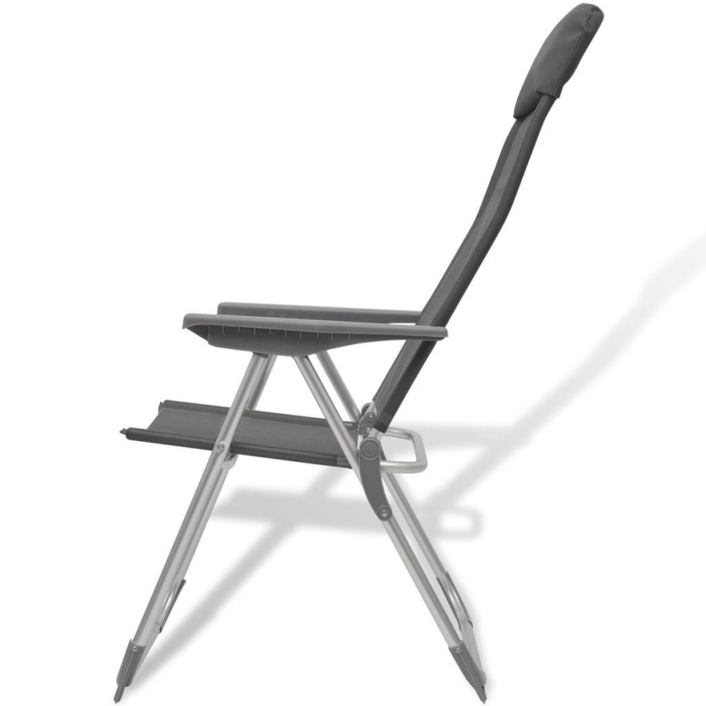 Foldable Adjustable Camping Chairs Aluminium Set of 2