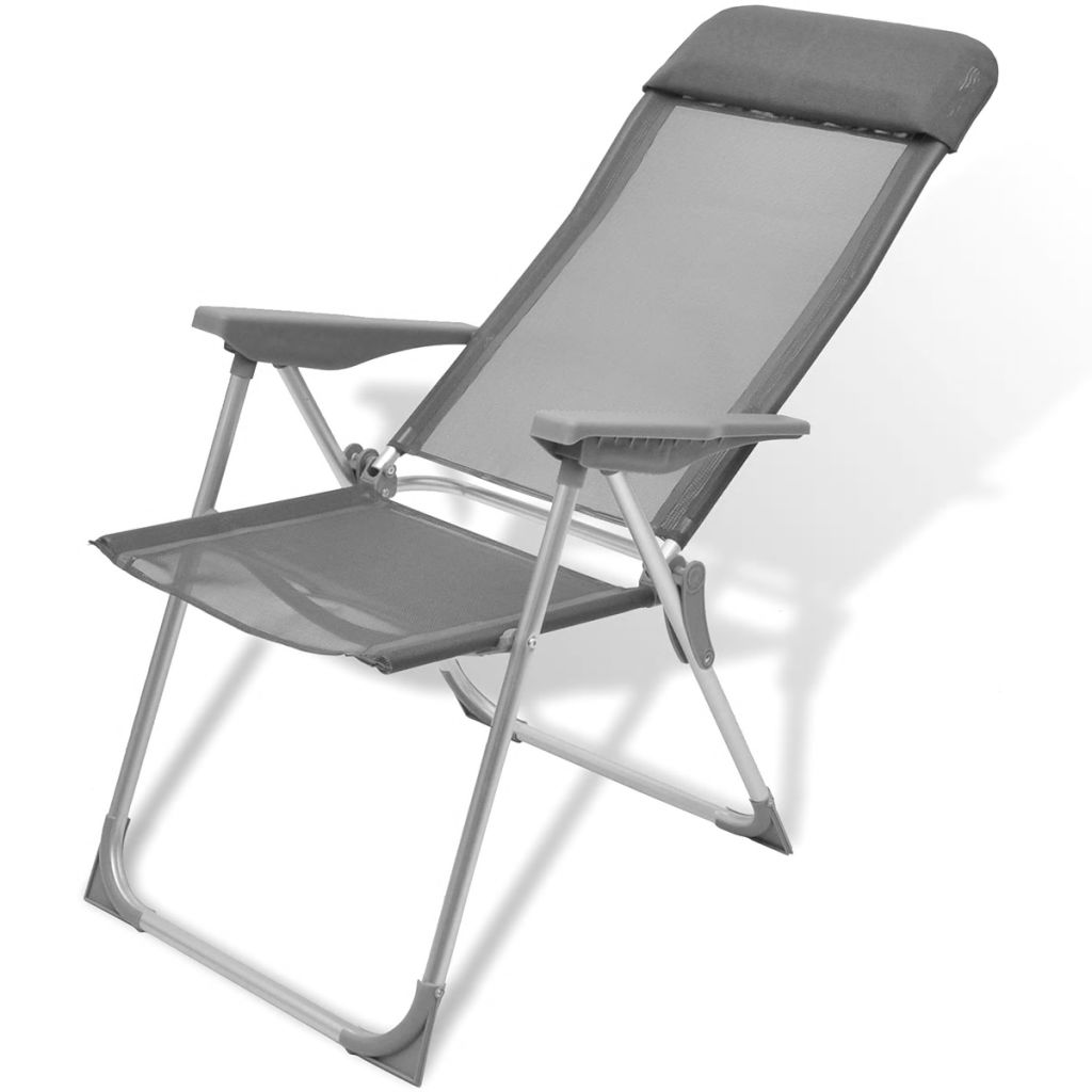 Foldable Adjustable Camping Chairs Aluminium Set of 2