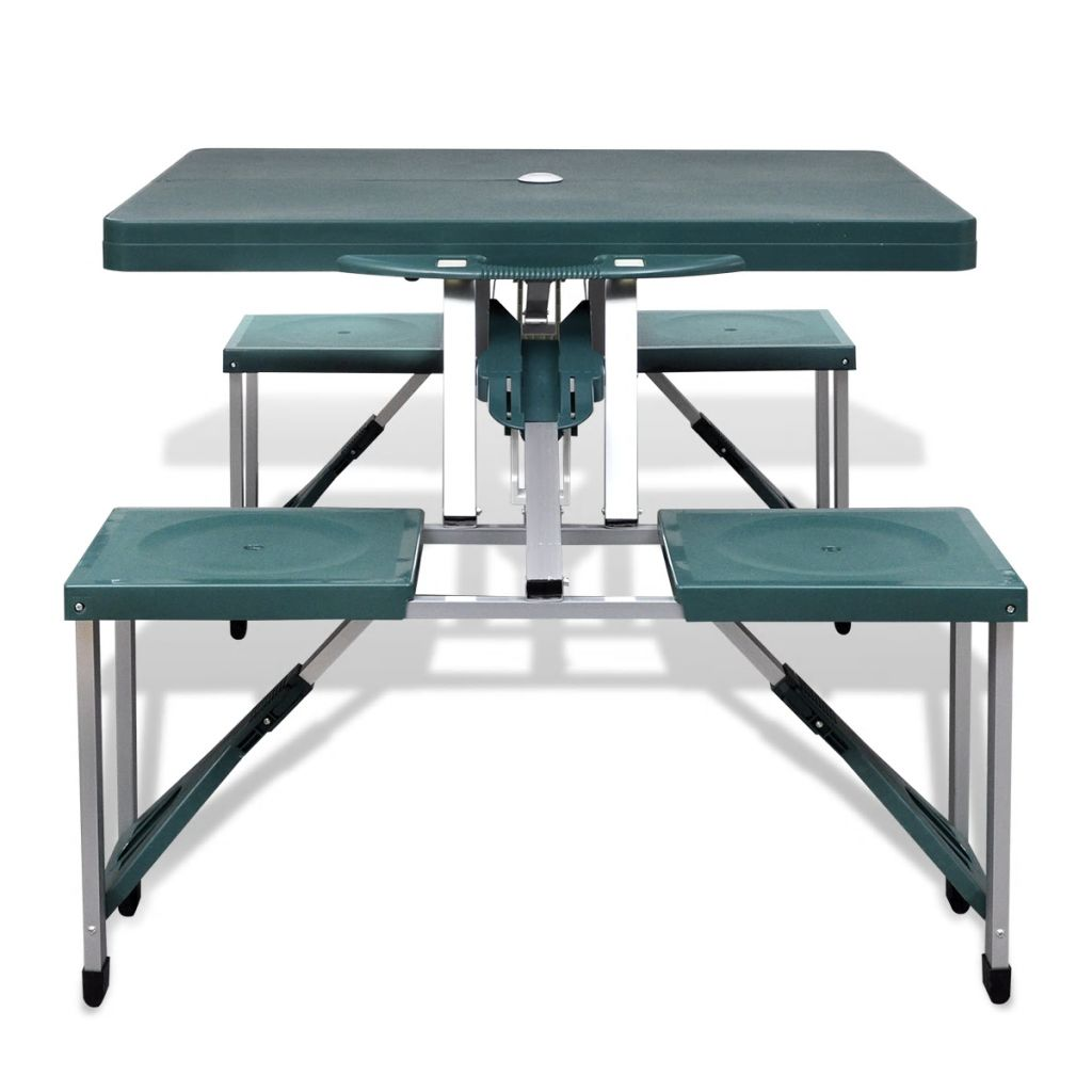 Foldable Camping Table Set with 4 Stools Aluminium Extra Light Green