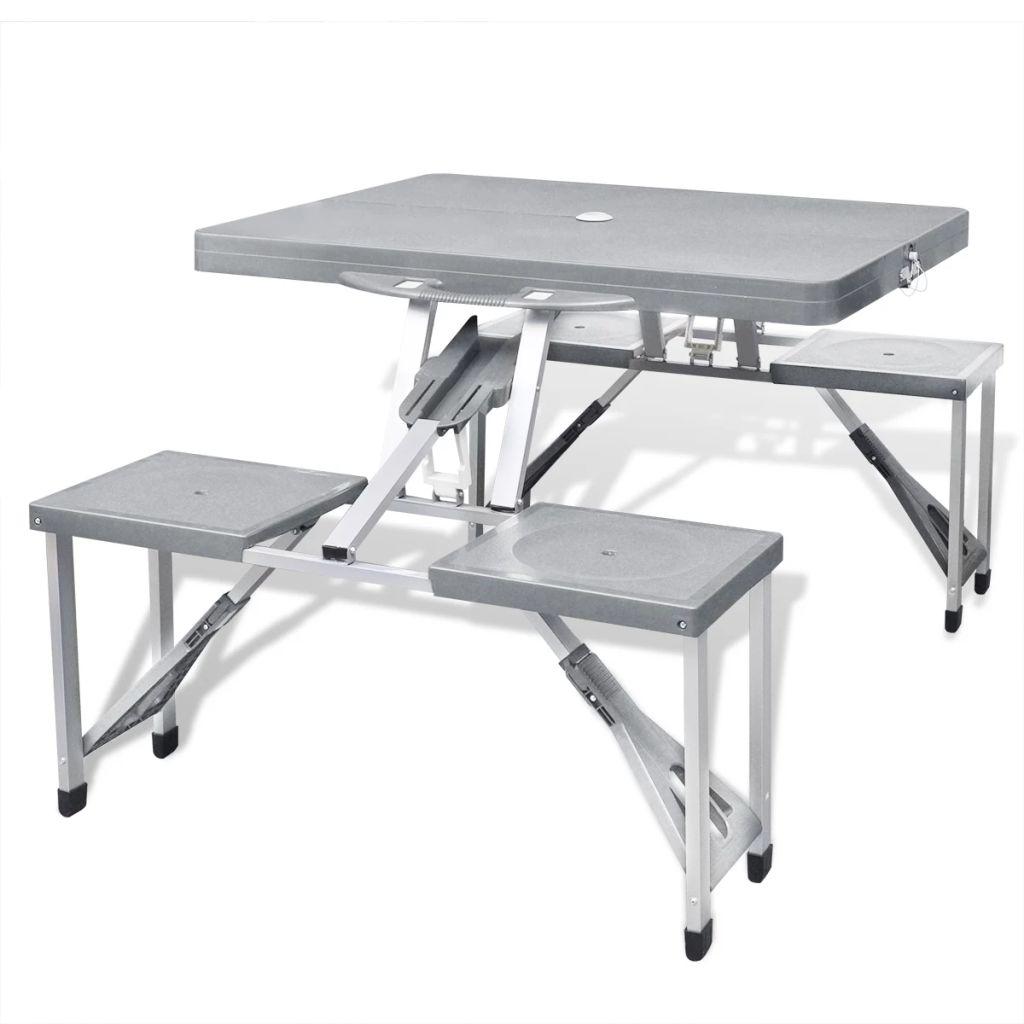 Foldable Camping Table Set with 4 Stools  Aluminium Extra Light Grey