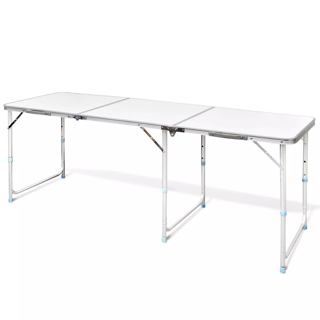 Foldable Camping Table Height Adjustable Aluminium 180 x 60 cm