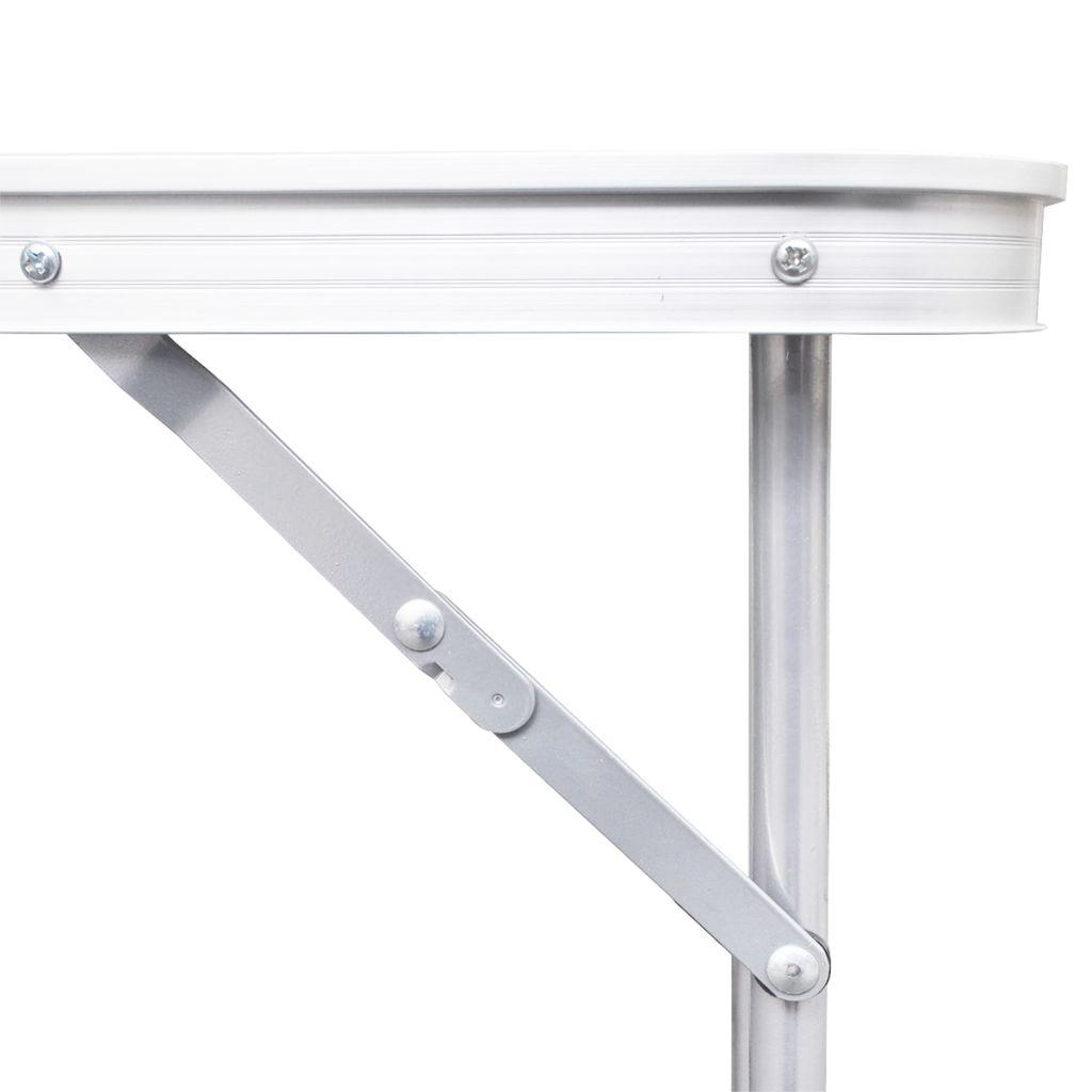Foldable Camping Table Height Adjustable Aluminium 240 x 60 cm
