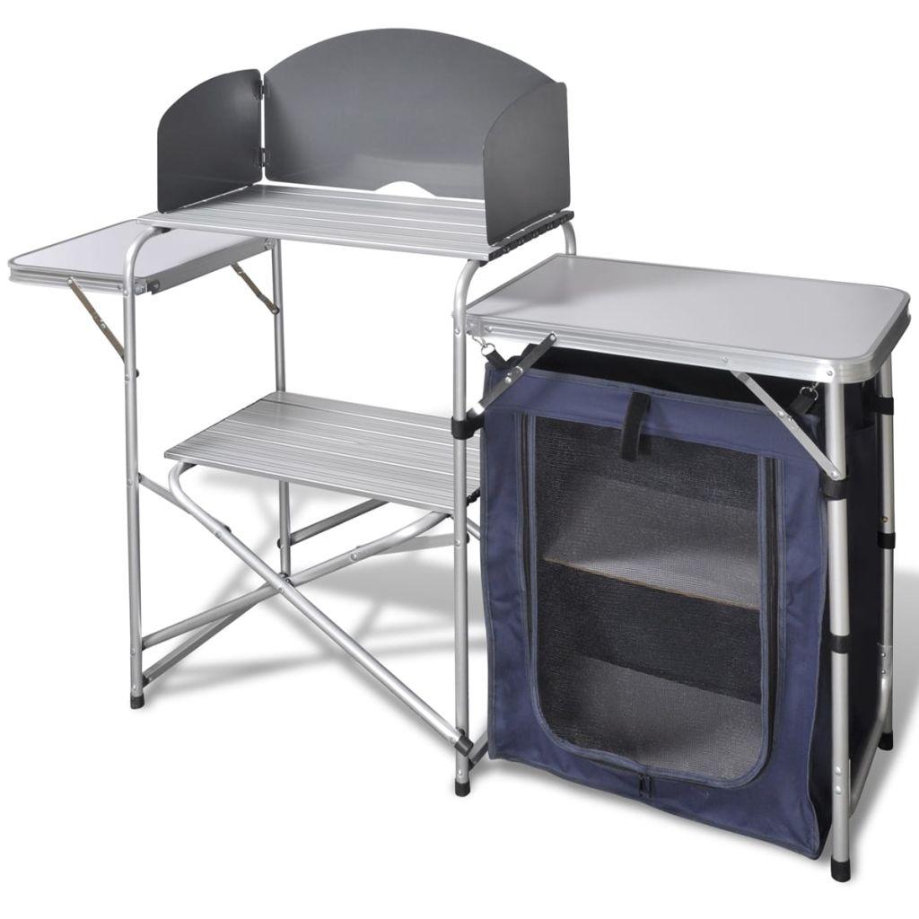 Foldable Camping Kitchen Unit with Windshield Aluminium
