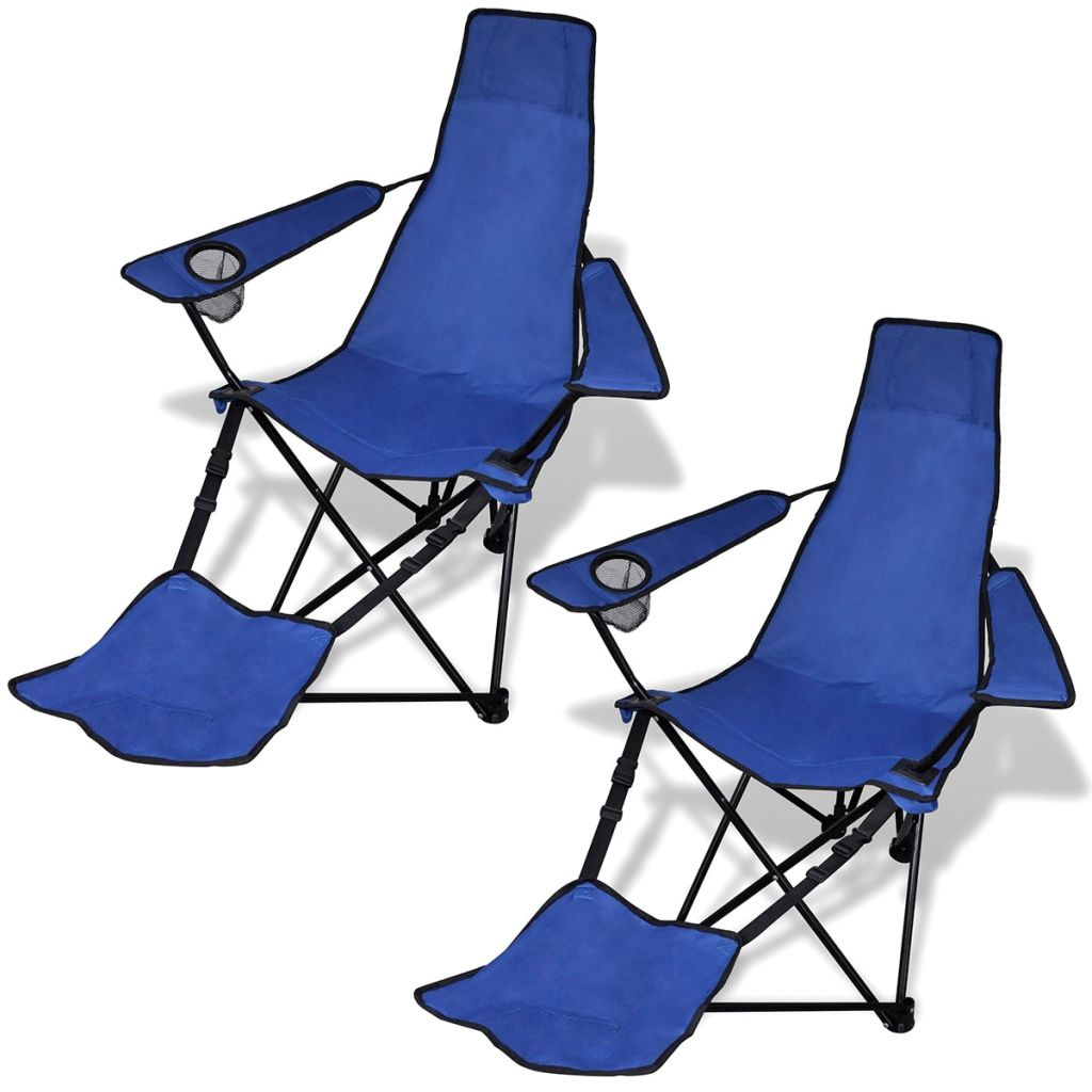 2 pcs Foldable Camping Chair with Footrest Blue
