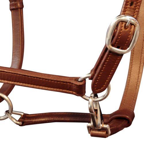 Real Leather Headcollar Stable Halter Adjustable Brown Cob