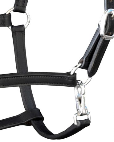 Real Leather Headcollar Stable Halter Adjustable Black Pony