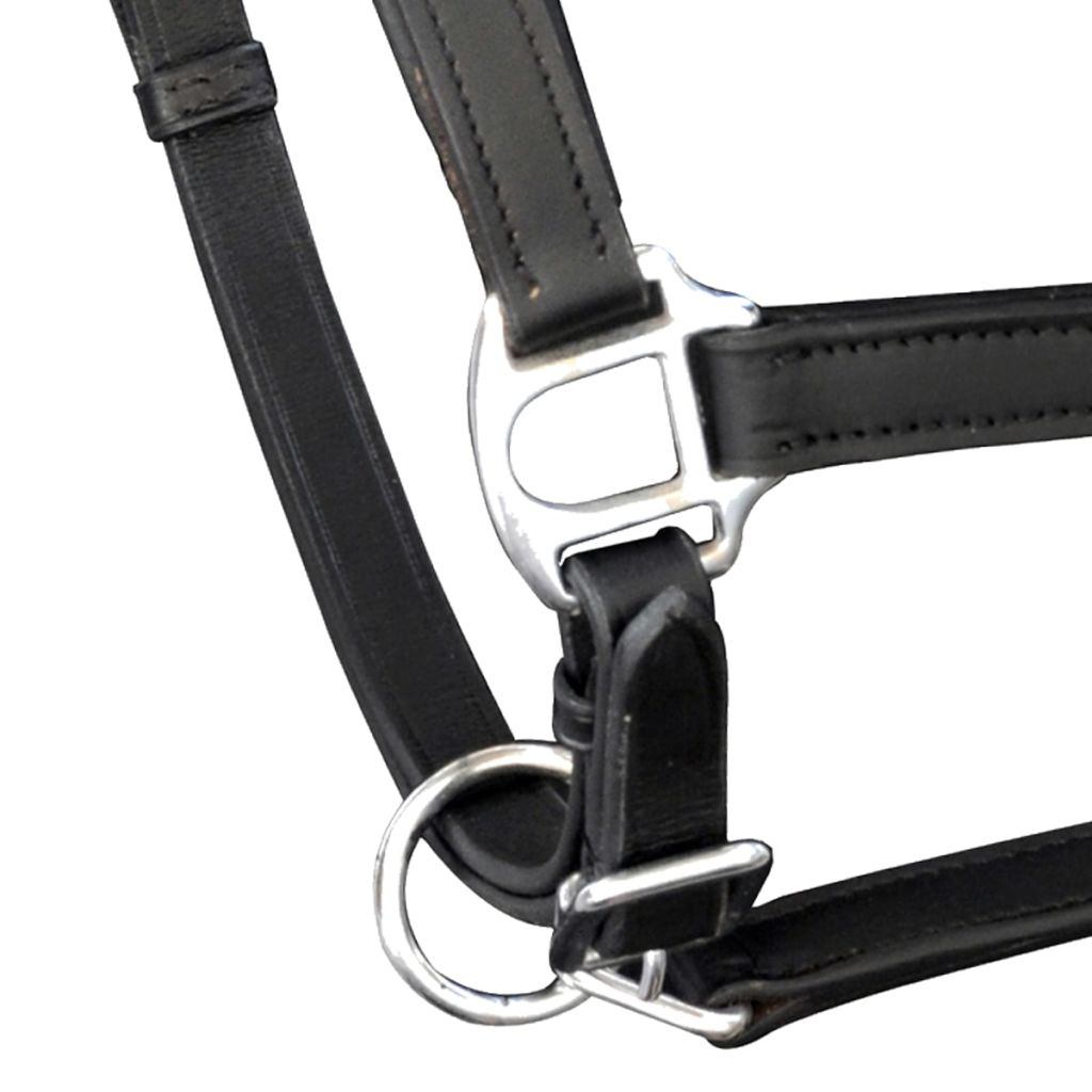 Real Leather Headcollar Stable Halter Adjustable Black Cob