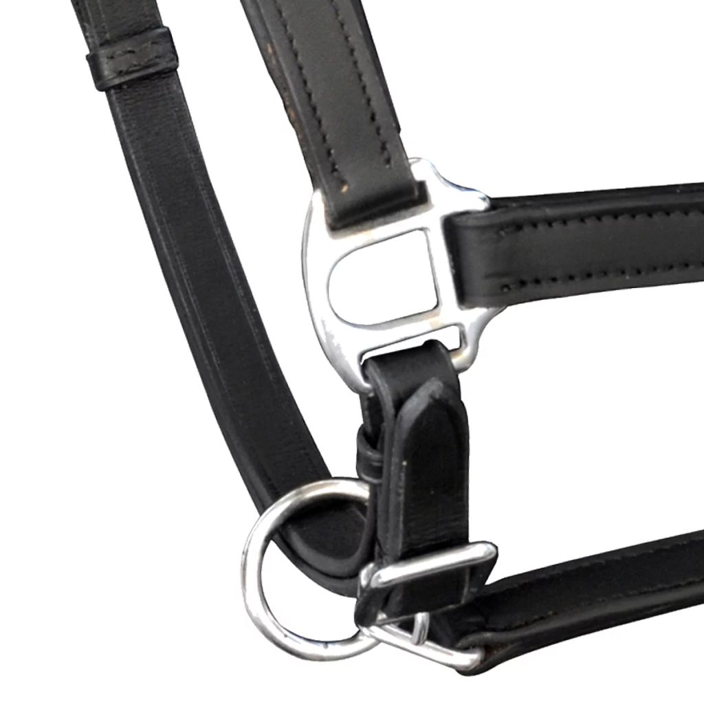 Real Leather Headcollar Stable Halter Adjustable Black Full