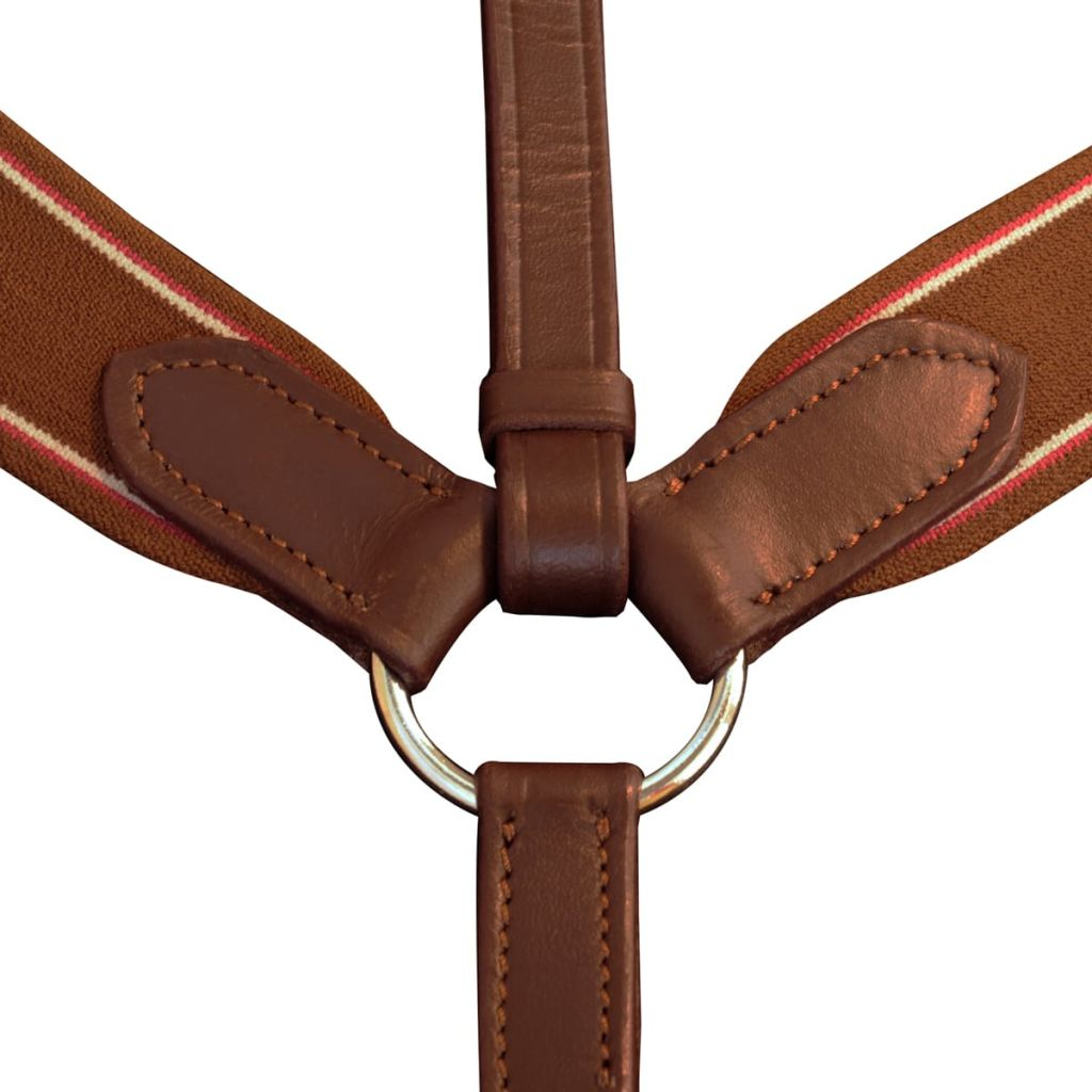 Leather Elastic Breastplate Martingale Adjustable Brown Pony
