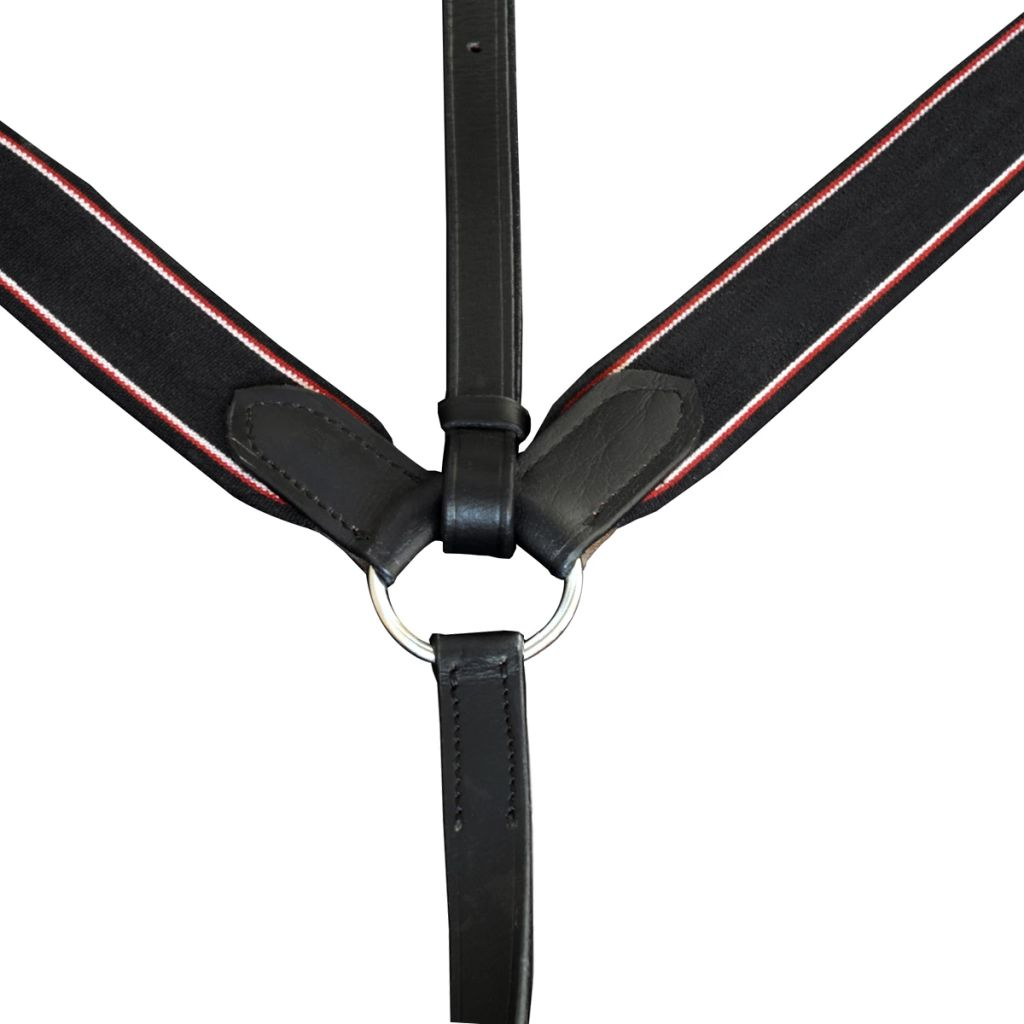 Leather Elastic Breastplate Martingale Adjustable Black Full