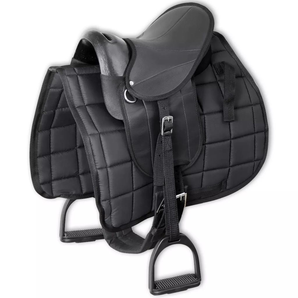 "Pony Saddle Set 10"" Black"