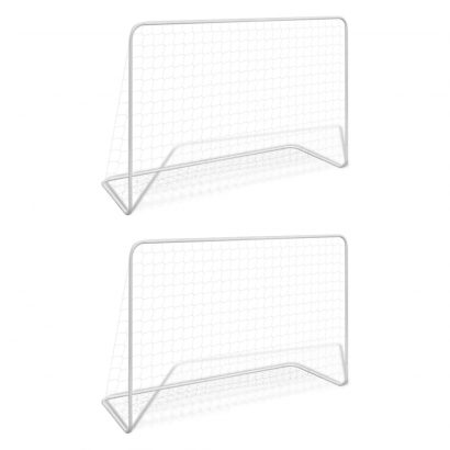 Football Goals 2 pcs with Nets 182x61x122 cm Steel White