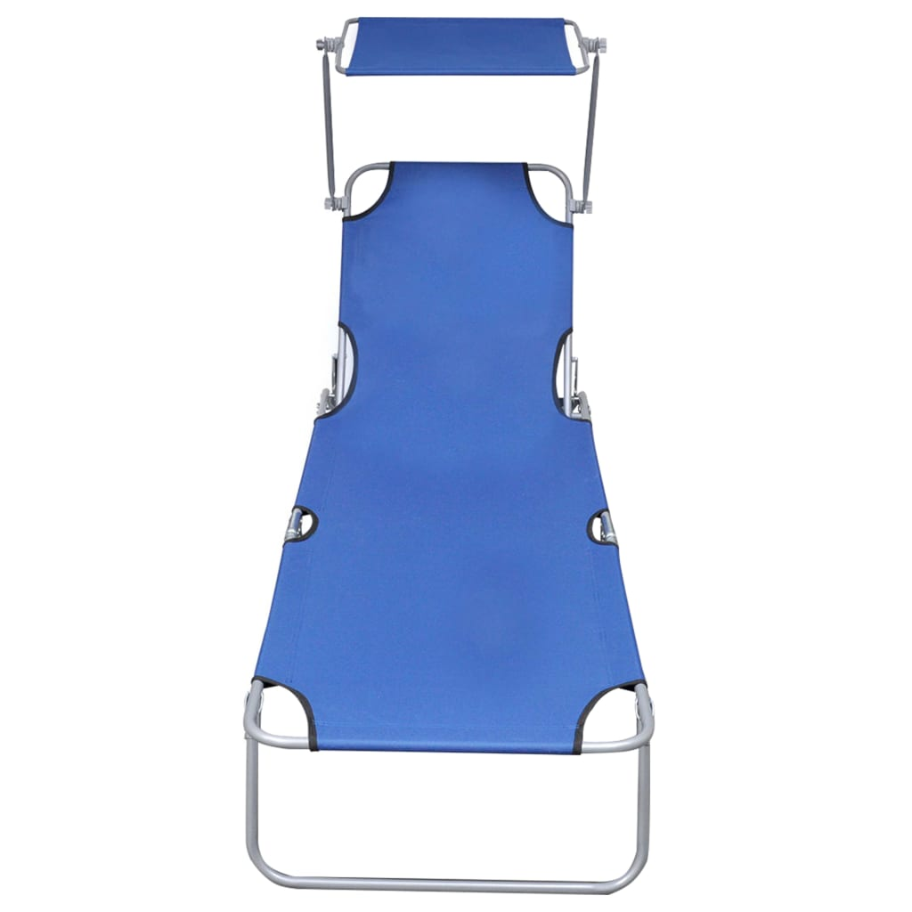Folding Sun Lounger with Canopy Blue Aluminium