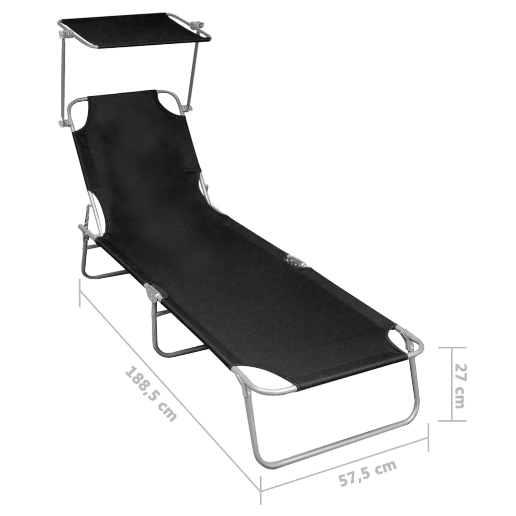 Folding Sun Lounger with Canopy Black Aluminium