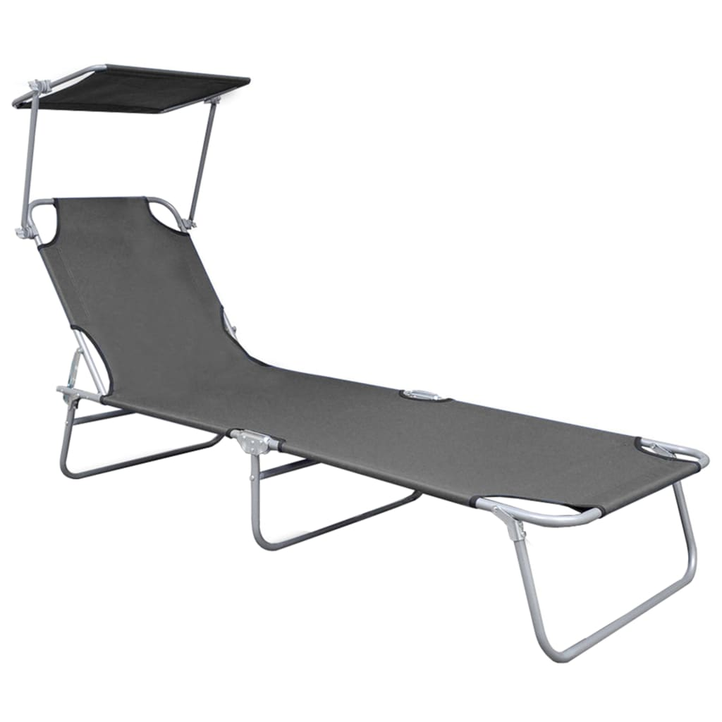 Folding Sun Lounger with Canopy Grey Aluminium